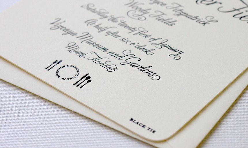 Black Tie Wedding Invitation