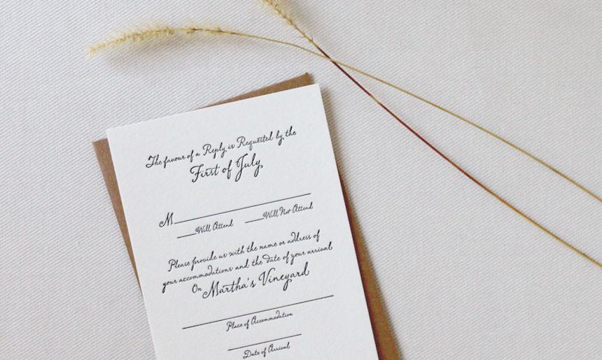 Martha's Vineyard Wedding Reply Card