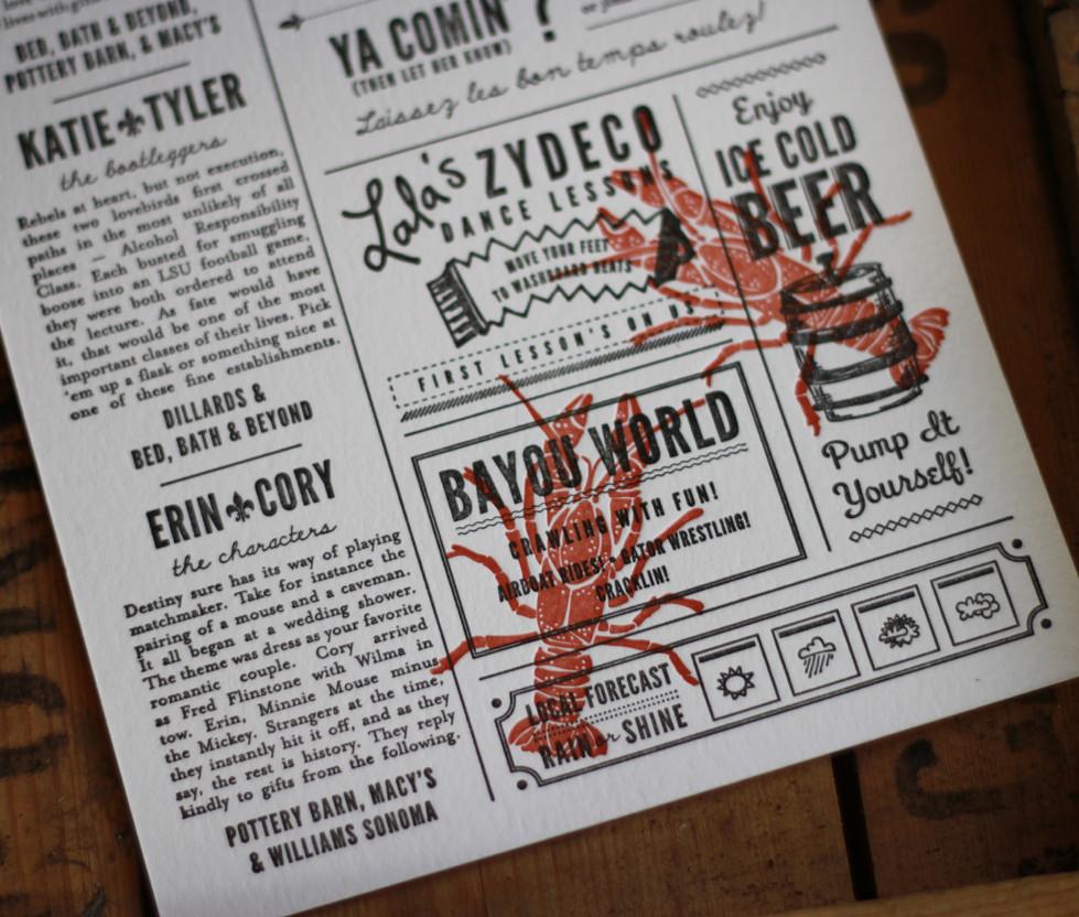 Crawfish Boil Newspaper Invitation