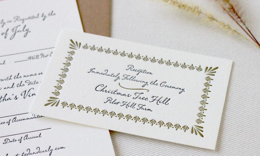 Martha's Vineyard Wedding Reception Card