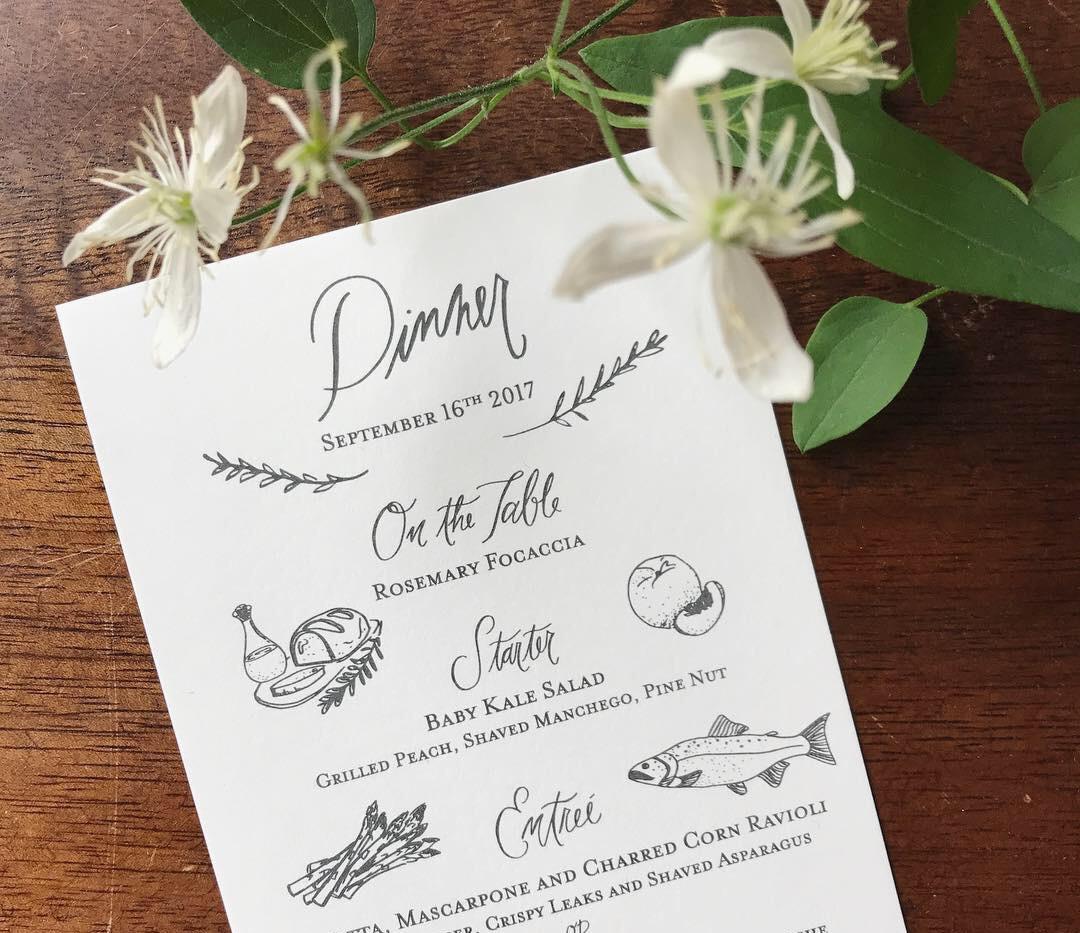 Aspen Mountain Top Wedding Menus
