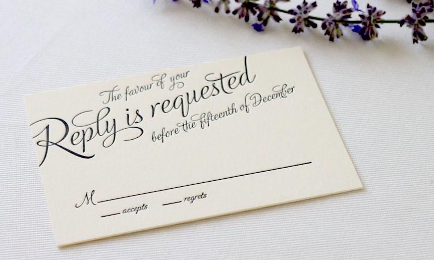 Black Tie Wedding Reply Card