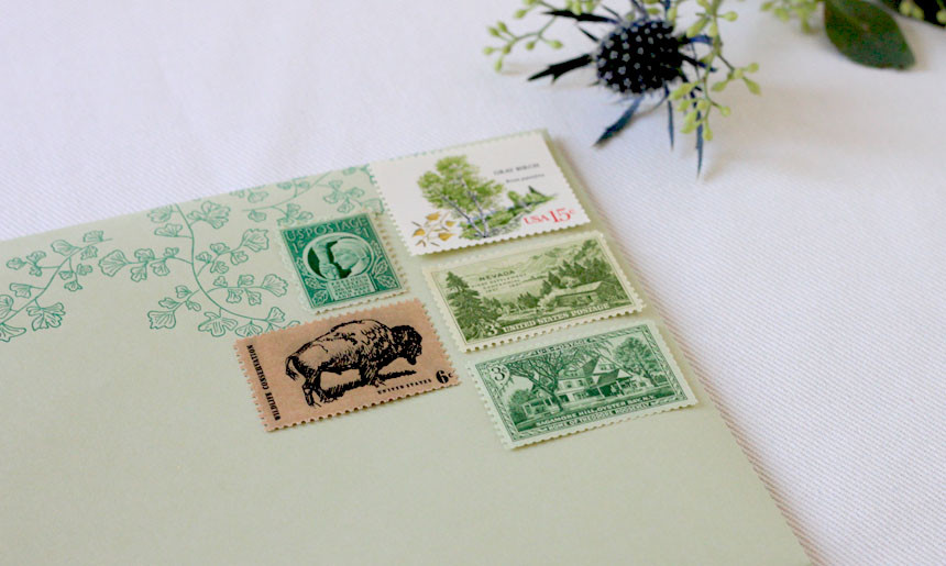 Summer Greenery Vintage Stamps