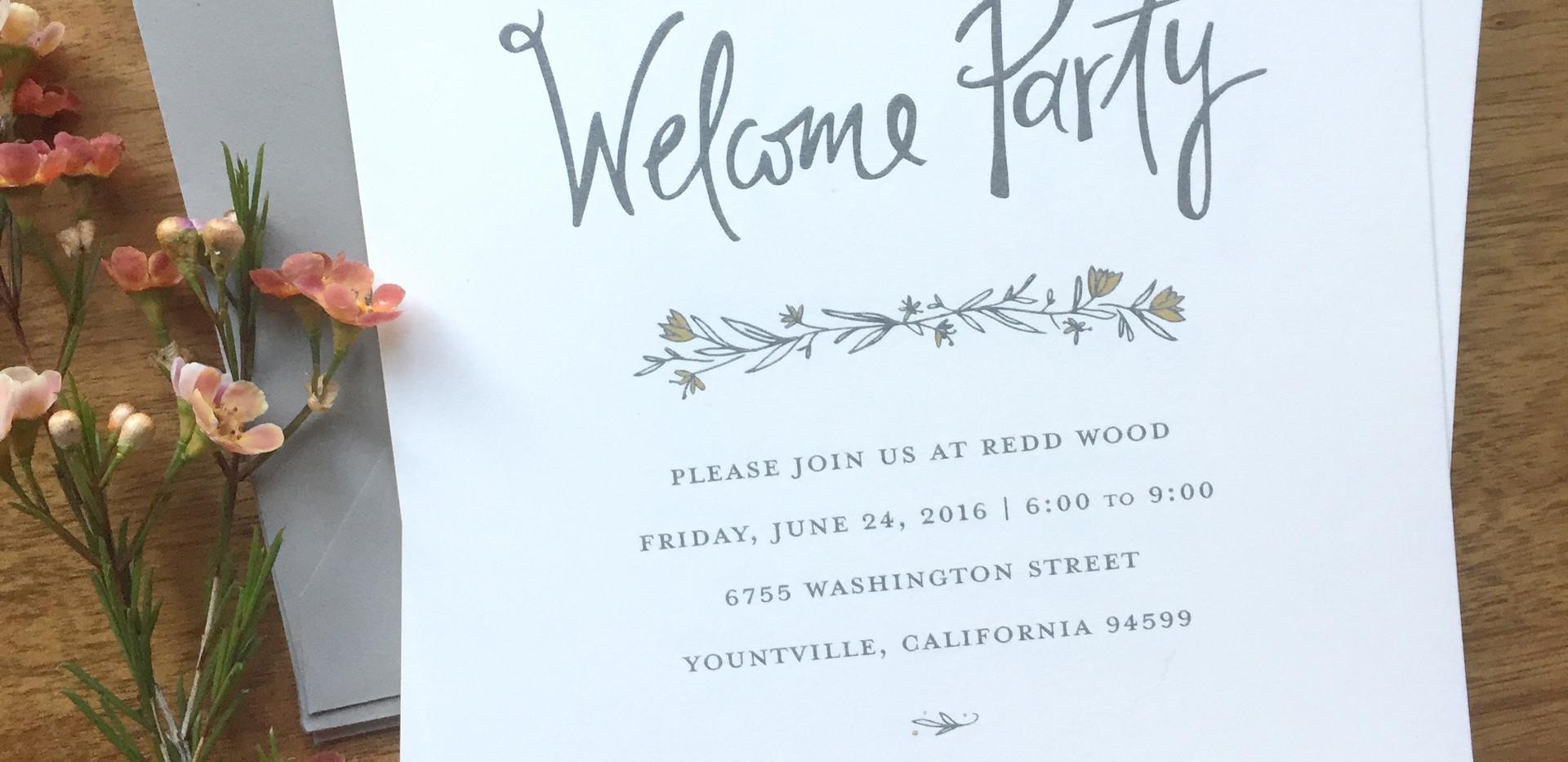 Napa Wildflower Wedding Welcome Party Invitation