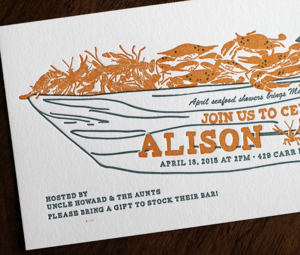 Pirogue Seafood Boat Invitation