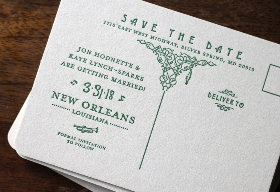 New Orleans Streetcar Save the Date Postcard