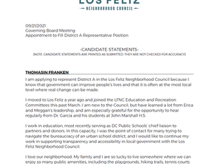 District A Candidate Statements