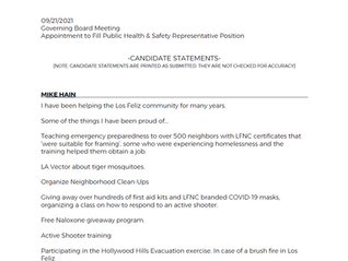 Public Health & Safety Candidate Statements
