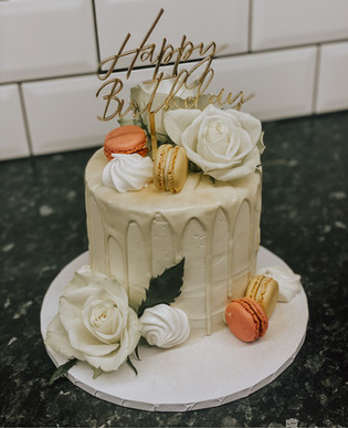 Drip Cake with Fresh Flowers, Macarons &