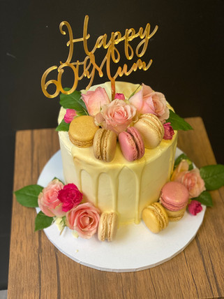 Drip Cake with Fresh Flowers, Macarons &