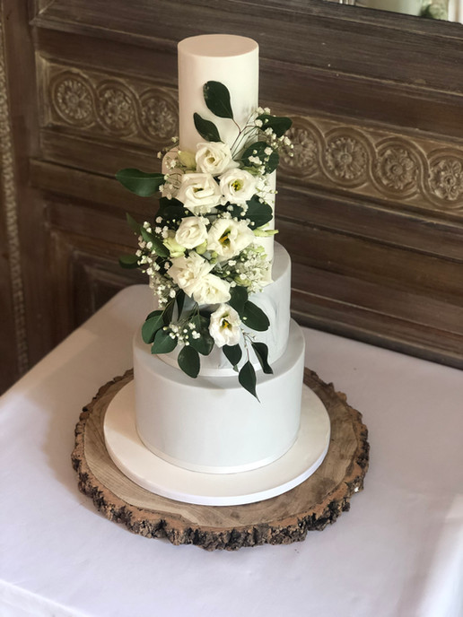 Grey & White Marble with Fresh Flowers