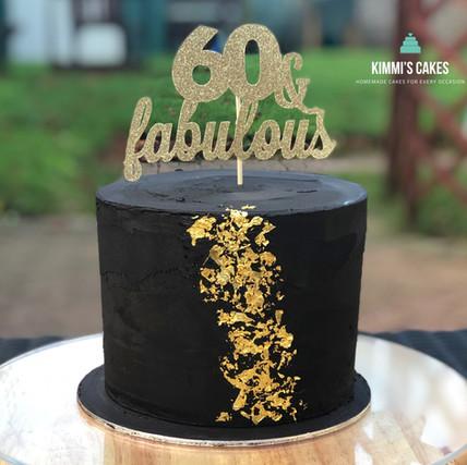 Black & Gold 60th Cake