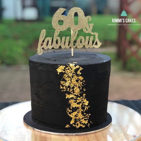 Black & Gold 60th Cake