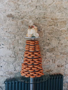 Cutting Cake with Doughnut Tower
