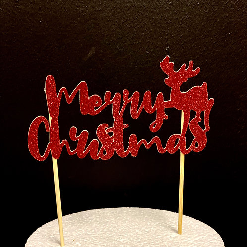Merry Christmas with Reindeer Christmas Cake Topper