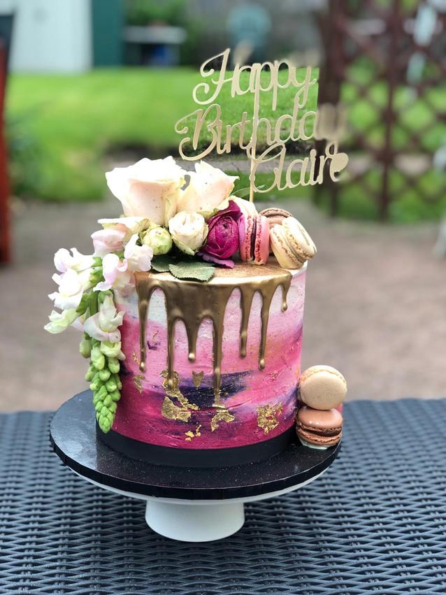 Buttercream Drip Cake with Fresh Flowers & Macarons