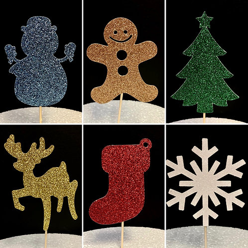 6 x Assorted Christmas Cupcake Toppers