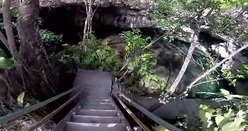 Staircase to cenote entry point