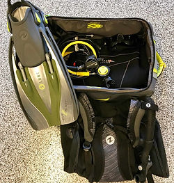 Typical dive gear travel package set