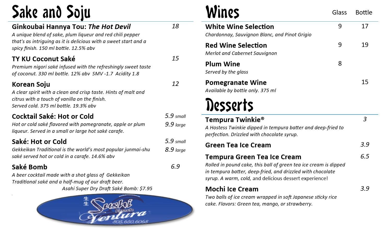 Soju, Saké, Wines & Desserts