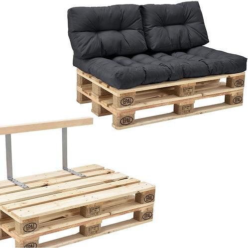 canapé palette 2 places avec coussins