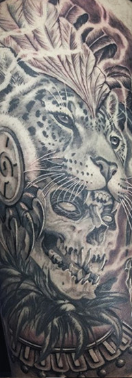 INDIO REYES aztec warrior jaguar tatuaje sombra