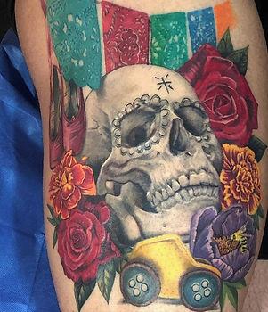 dia de los muertos calavera cempasutchil flores tatuaje muerte tattoo melissa reyes tattoo guadalajara mexico