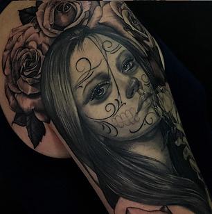 Dia de los muertos catrina tatuaje melissa reyes tattoo rosasn guadalajara mexico tradición muerte