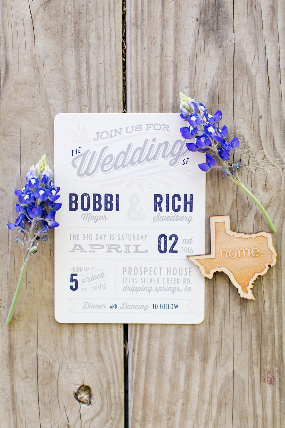 Eclipse EventCo, Mekina Saylor Photo, Texas Bluebonnet Wedding Invitation