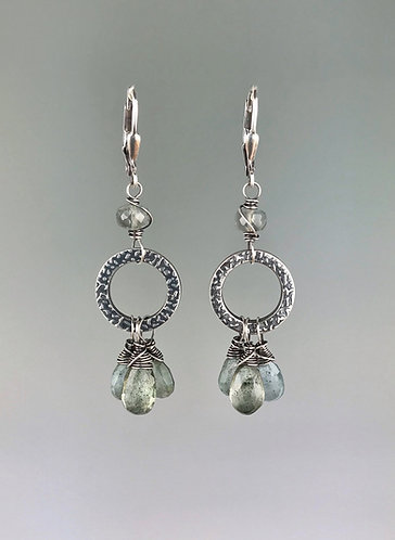 Moss Aquamarine and Sterling Silver Textured Hoop Earrings