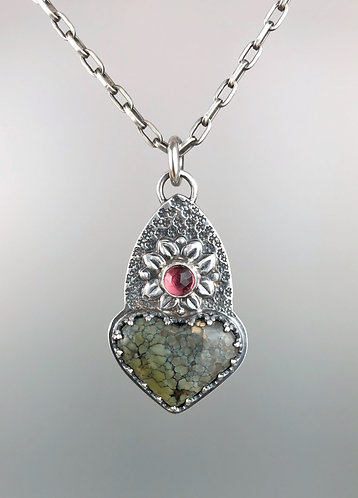 Treasure Mountain and Rhodolite Garnet Heart Necklace