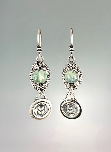 Prehnite Leaf Woven Earrings