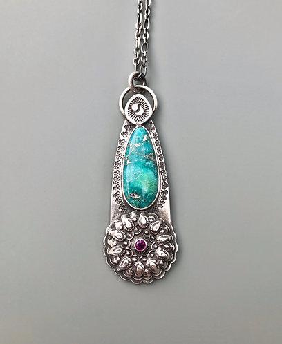 Whitewater Turquoise Rhodolite Garnet Sterling Silver Mandala Necklace