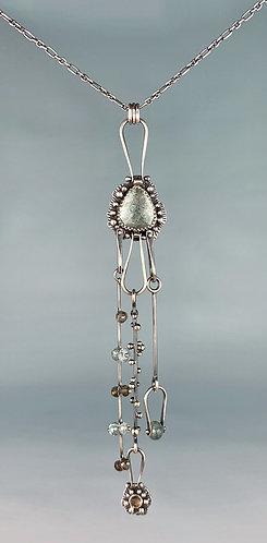 Moss Aquamarine and Smoky Quartz Pinned Necklace