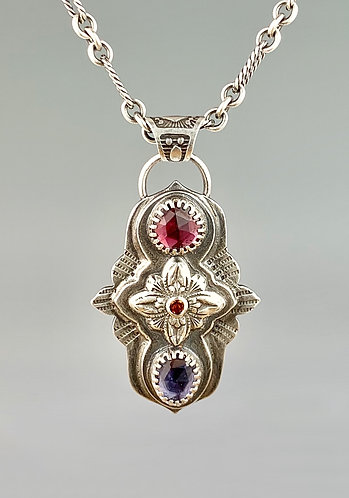 Garnet, Citrine and Iolite Eastern Star Necklace