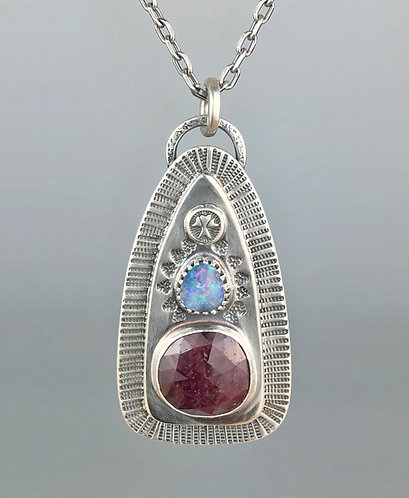 Ruby and Opal Stamped Necklace