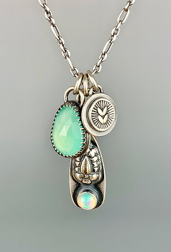 Chrysoprase and Opal charm necklace