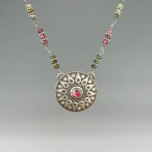 Watermelon Tourmaline Mandala Flower Necklace
