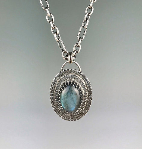 Labradorite and Sterling Stamped Oval Necklace