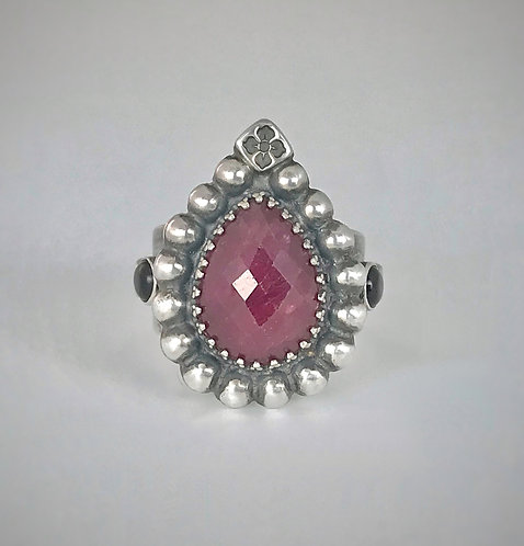 Ruby and Onyx Sterling Silver Ring