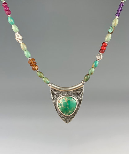 Australian Variscite Necklace with Gemstone and Turquoise beaded chain