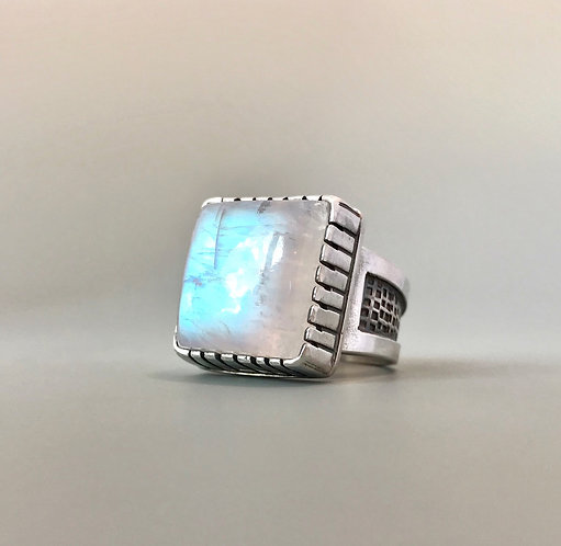 Rainbow Moonstone Sterling Square Thick Band Ring