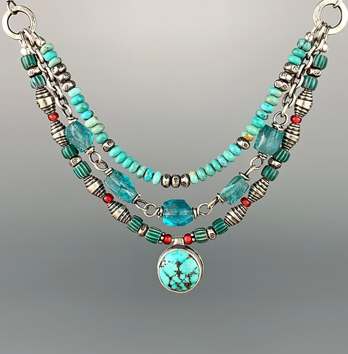 Turquoise, Trade Bead and Apatite Reversible Necklace