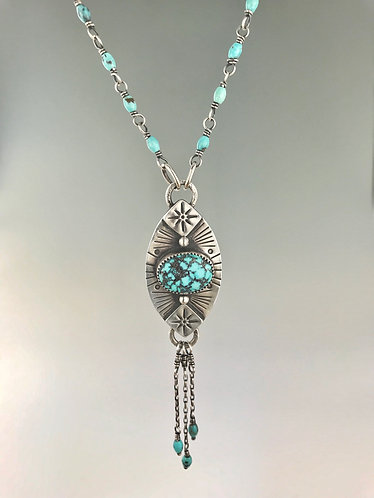 Kingman Turquoise Tassel Necklace