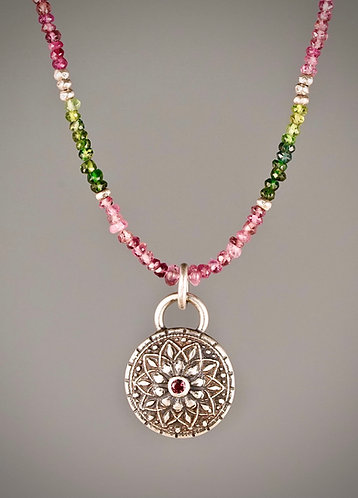 Delicate Tourmaline Mandala Beaded Necklace
