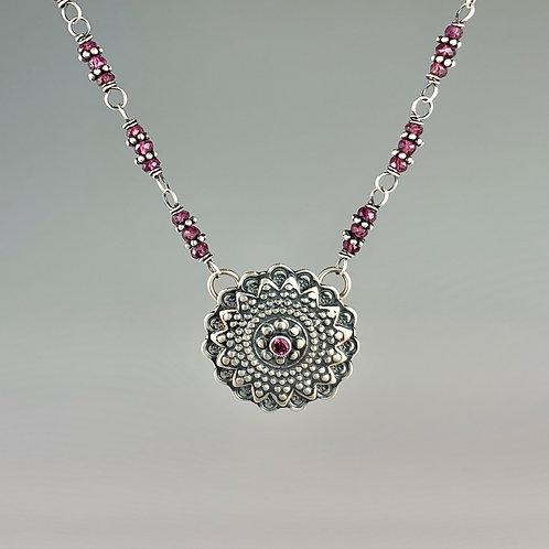 Rhodolite Garnet Mandala Necklace
