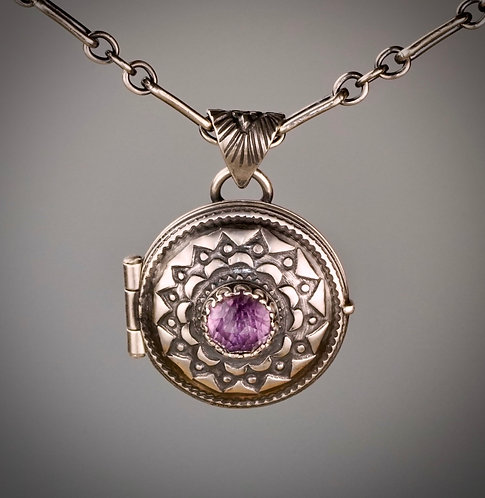 Sterling Silver and Amethyst Hand forged Locket