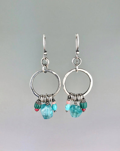 Boho Apatite, Turquoise and African Trade Bead Hoop Earrings