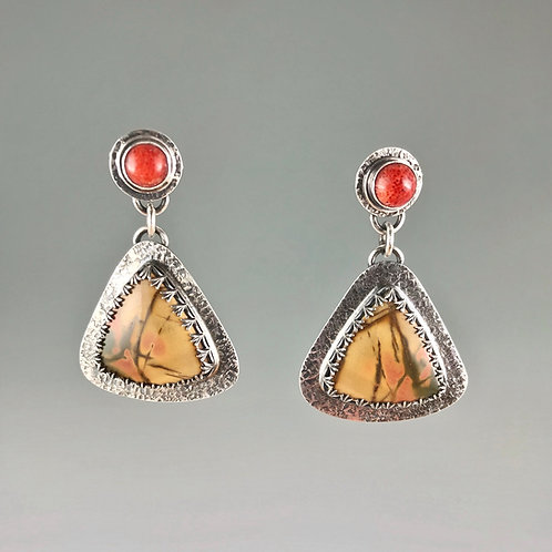 Cherry Creek Jasper and Spiny Oyster Post Earrings