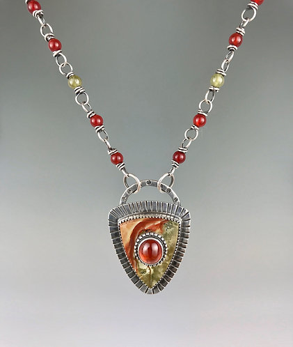 Rocky Butte Jasper and Mexican Opal necklace with Handmade Beaded Chain